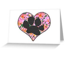 Pawprint in Heart with Pink Flowers Greeting Card