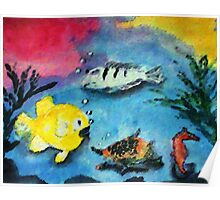Happy Fishies, watercolor Poster