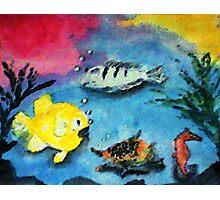 Happy Fishies, watercolor Photographic Print