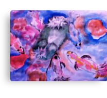 Koi and lilie pad. watercolor Canvas Print