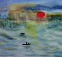 Sunrise, reproduction in my version, watercolor by Anna  Lewis