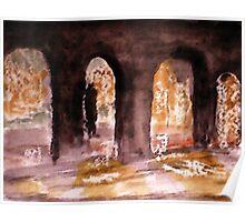 Balboa's arches in the rain, watercolor Poster