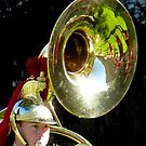 The whole band reflected in the tuba by bubblehex08