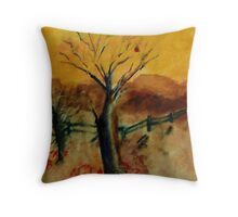 Getting ready for winter, one leaf left, watercolor Throw Pillow