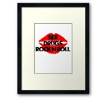 sex drugs and rock n roll party club tee  Framed Print