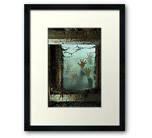 Zombies outside a window Framed Print