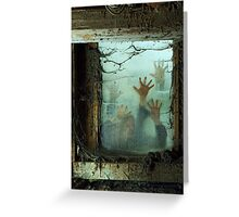 Zombies outside a window Greeting Card