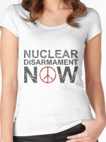 "Vintage Style ""Nuclear Disarmament Now"" T-Shirt Women's Fitted Scoop T-Shirt"