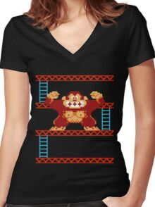 Classic 8 bit monkey  Women's Fitted V-Neck T-Shirt