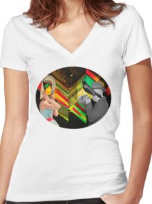 Retro Space Women's Fitted V-Neck T-Shirt