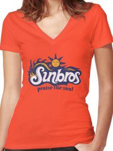 Sunbros: Praise The Sun! Women's Fitted V-Neck T-Shirt