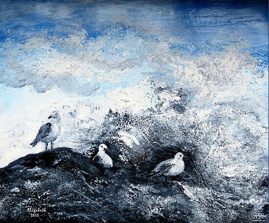 Seagulls on the rocks by Elizabeth Kendall