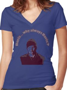 """Boris... why always Boris? (""""The Wire"""") Women's Fitted V-Neck T-Shirt"""