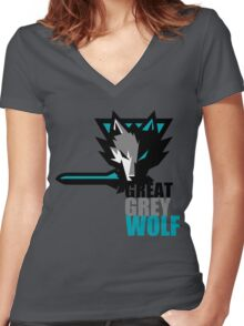 The Great Grey Wolf Women's Fitted V-Neck T-Shirt