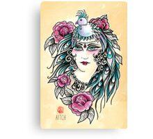 Parrot Hat Lady Canvas Print