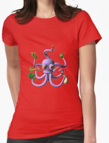 Octopus juggling vegetables from Valxart.com  Womens Fitted T-Shirt