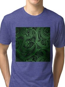 Stylish green Paisley Pattern Tri-blend T-Shirt