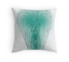 Scarey face in greens Throw Pillow