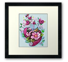 Valentines, Butterflies and Flowers Framed Print
