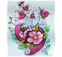 Valentines, Butterflies and Flowers Poster