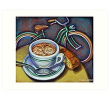 Green Schwinn bicycle with cappuccino and biscotti. Art Print
