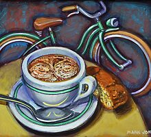 Green Schwinn bicycle with cappuccino and biscotti. by markhowardjones