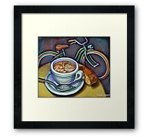 Green Schwinn bicycle with cappuccino and biscotti. Framed Print