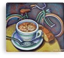 Green Schwinn bicycle with cappuccino and biscotti. Metal Print