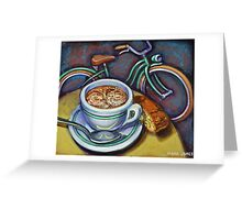 Green Schwinn bicycle with cappuccino and biscotti. Greeting Card