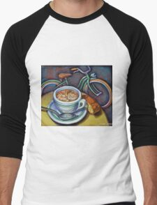 Green Schwinn bicycle with cappuccino and biscotti. Men's Baseball ¾ T-Shirt