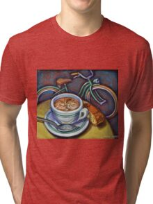 Green Schwinn bicycle with cappuccino and biscotti. Tri-blend T-Shirt