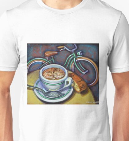 Green Schwinn bicycle with cappuccino and biscotti. Unisex T-Shirt