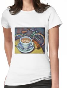 Green Schwinn bicycle with cappuccino and biscotti. Womens Fitted T-Shirt