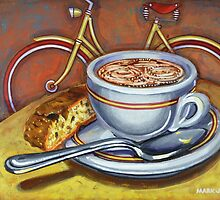 Yellow Dutch Bicycle with Cappuccino and Biscotti by markhowardjones
