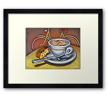 Yellow Dutch Bicycle with Cappuccino and Biscotti Framed Print