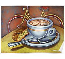 Yellow Dutch Bicycle with Cappuccino and Biscotti Poster