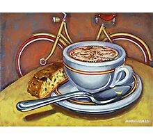 Yellow Dutch Bicycle with Cappuccino and Biscotti Photographic Print