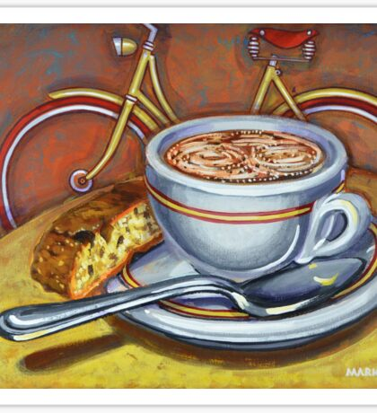 Yellow Dutch Bicycle with Cappuccino and Biscotti Sticker