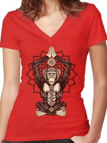 Chakra Monkey Tonight Women's Fitted V-Neck T-Shirt