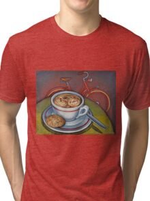 Red Dutch Bicycle with Cappuccino and Amaretti Tri-blend T-Shirt