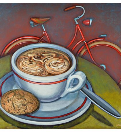 Red Dutch Bicycle with Cappuccino and Amaretti Sticker