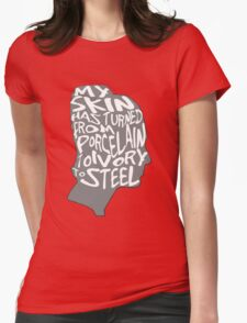 porcelain ivory steel Womens Fitted T-Shirt