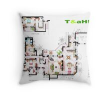 Beach House of Charlie Harper from T&aHM Throw Pillow