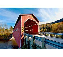 Wooden covered bridge in Quebec, Canada Photographic Print