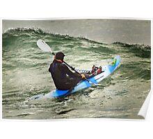 Surfski Paddling at Bells Beach Poster