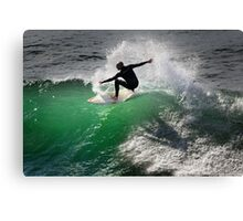 Surfing at Winkipop Canvas Print