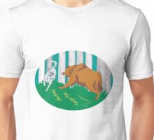 Wild Dog Wolf Fighting Grizzly Bear Unisex T-Shirt