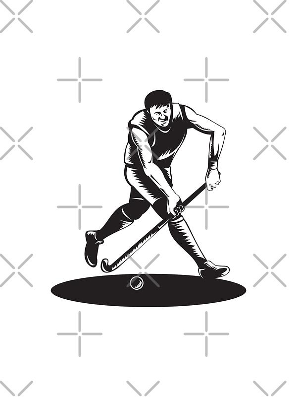 Field Hockey Player Running With Stick Retro  by patrimonio