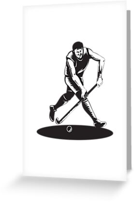 Field Hockey Player Running With Stick Retro  by patrimonio