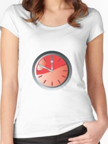 wall clock spoon and fork eating time  Women's Fitted Scoop T-Shirt